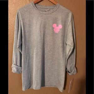 Disney grey long sleeved shirt,pink mouse ears,med